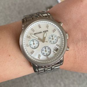 Michael Kors Ritz Chronograph Silver Pearl Watch
